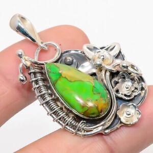 "Arizona Green Copper Turquoise Gemstone 925 Sterling Silver Pendant 2.1"" M1527"