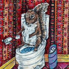 Bathroom art squirrel print on modern ceramic Tile coaster gift Jschmetz