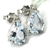 WHITE GOLD EARRINGS 750 18K, AQUAMARINE CUT DROP, DIAMONDS