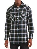 Plains Western Big And Tall Men's Long Sleeve Plaid Flannel - Black Plaid - 3XLT