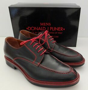 Donald J. Pliner Men's Shoes Horace Black With Red Trim And Stitching Size 13