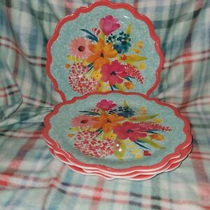 Pioneer Woman Melamine Sunny Days Coral Dinner Plate Set Of 4