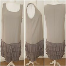 Episode 100% Silk Grey Vintage 20s Flapper style Ruffled Midi Lined Dress 16