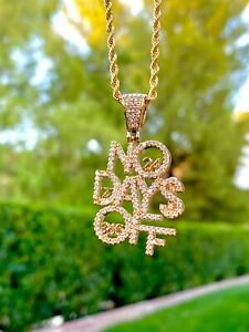 Men's Women 14k Gold Filled Iced Ice out No Days Off Charm Pendant Rope Necklace