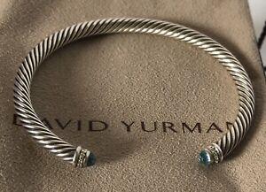DAVID YURMAN Blue Topaz & Diamonds 925 Sterling Twisted Cable Bracelet EUC