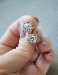 2Ct Round Cut Diamond Vintage Milgrain Stud Earrings Women 14k White Gold Over
