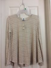 OLD NAVY XS BEIGE Striped Burnout Sheer Long Sleeve Shirt Top NWT