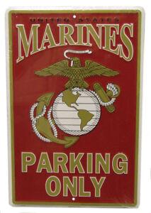 "U.S. USMC Marines Marine Corps EGA Parking Only 8""x12"" Metal Plate Parking Sign"