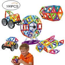100 pcs Magnetic Toy Building Blocks Set 3D Large Tiles Gift with Storage Bag UK