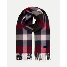 Joules Bracken Check Woven Scarf 210173 Blue Pink Check