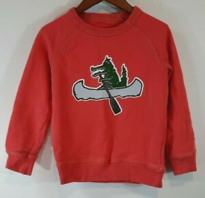 Mini Boden Boys Sweatshirt Size 5-6 Y Alligator Crocodile Canoe Red Long Sleeve