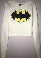 H&M Divided Womens Girls Batman Crop Top White Long Sleeve Size Extra Small