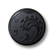 5 elegante schwarze Kunststoff Ösen Knöpfe mit Paisley Muster (1330sc-21)