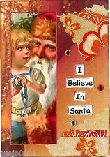 ACEO ATC Art Card Collage Print Christmas Believe Santa Claus Boy Toy Sword