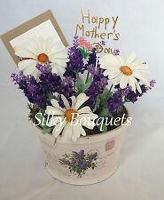 Mothers Day Silk Flower Basket Pot Arrangement Gift Daisy Hospital Posy False