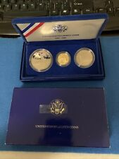 1986 STATUE OF LIBERTY 3 COIN GOLD & SILVER COMMEMORATIVE SET -PROOF OGP