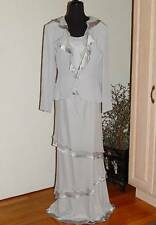 NWT Cameron Blake 2 Pc Silver Gown Dress & Jacket Special Occasion MOB Sz 14
