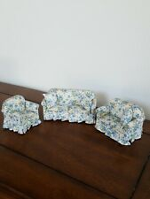 Miniature Dollhouse Furniture 3 Piece Couch,  Loveseat, Chair