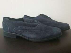 Navy Blue Leather Suede Shoes Size 10
