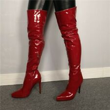 Womens Over Knee Boots Patent Leather Stiletto Heels Pointed Toe Side Zip Shoes