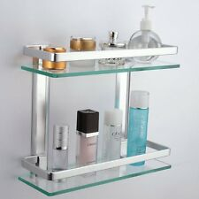 Bathroom Shelf 2 Tier Shelves Glass Shower Wall Mounted Storage Shelving