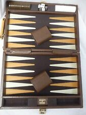 "Vintage Backgammon Set in Briefcase with Side Handle (12.75"" by 8.75"" closed)"