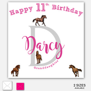 Personalised Granddaughter Horse Birthday Card Name Initial Age Daughter Son