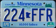 """MINNESOTA """" 10.000 LAKES 224 FFR """" 1991 MN Vintage Classic Graphic License Plate"""