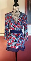 Modcloth Navy Floral Top Size Medium With Silk Detail At Bottom