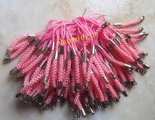 8pz laccetti cellulare 7cm colore argento scuro , rosa