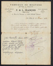 """LES LILAS (93) USINE de BOUTONS pour MODE """"BUFFALO & GALALITH / L FRANCOIS"""" 1933"""
