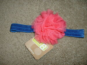 Crazy 8 Girls Headband Blue Pink Tulle Rosette Hair 3 4 5 6 7 8 9 NWT NEW