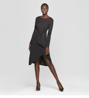 Women's Long Sleeve Wrap Tie Knit Dress -Who What Wear -Black-Various Sizes-S455