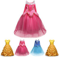 Kids Girls Princess Dress Fairytale Dress Up Cinderella Elsa Rapunzel Costume