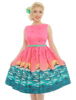 Lindy Bop Audrey Surf 8-26 Sunset Hot Pink Swing Print Dress Pinup PLUS $20off