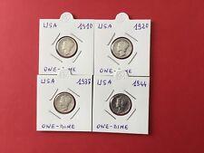 USA 4 pièces en argent de One Dime 1910/20/37/44 TTB
