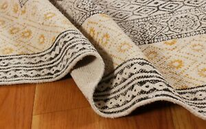 4x6 Indian Handmade Block Printed Area Rug Outdoor Yoga mat New Cotton Dhurrie