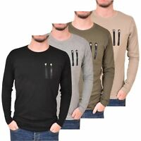 Mens Long Sleeve T-Shirt Crew Neck Zip Pocket Cotton Regular Tee Loyalty & Faith