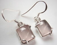 Rose Quartz Rectangular 925 Sterling Silver Dangle Earrings Corona Sun Jewelry