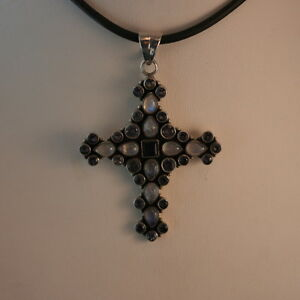 925 Silver Cross With 26 Faceted Amethyst And 9 Moonstone 11.6 Gr. 6.5x4.5 Cm.