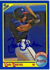 1990 Score Dave Justice Rookie Autographed Card # 650 Braves