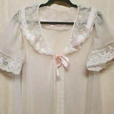 Vintage Val Mode Lingerie Sz L Long Nightgown Lace Sheer Open Peignoir Robe Euc