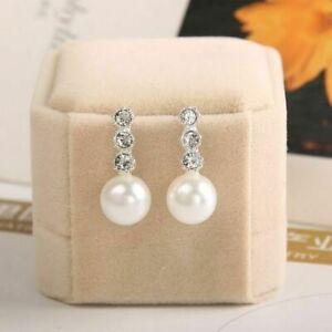 925 Sterling Silver Plated White Pearl CZ Drop Dangle Pearl Earrings For Women