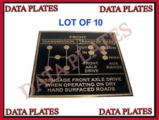 10 pièces de Shift Pattern data plate en laiton pour jeep willys G503 FORD GPW GP