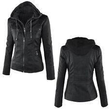 UK Women Vintage Motorcycle Hoodie Slim Leather PU Jacket Biker Coats Plus Size 3xl Gray