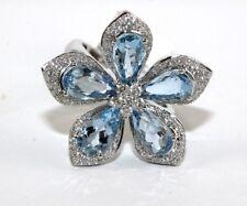 Forma Pera Aguamarina & Diamante Flor Estrella Anillo 18Ct Oro Blanco 5.36Ct