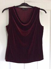 BHS Size 16 Wine Red Sleeveless Velvet Top Cowl Neck