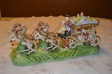 Capodimonte Porcelain Cinderella Horse Drawn Carriage Coach Gloss Figure ~ NICE