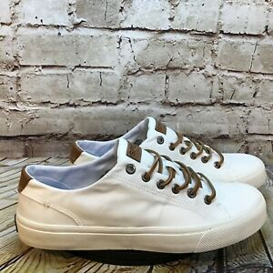 Sperry Top Sider Men's White Canvas Leather Lace Low Casual Sneakers Size 8