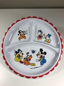 """Vintage 1984 Disney Babies 8.25"""" Divided Plate Collectible Mickey Minnie Pluto"""